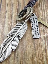 Vintage (Cross Pendant) Coffee Leather Pendant Necklace(Bronze) (1 Pc)