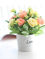 """8 """"H Silk Rose in Mini-Vase"""