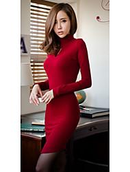 High Neck Long Sleeve Frauen-Kleid