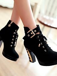 LTBL Women's Lace Ups High Heel Fur Trimmed Black Ankle Boots