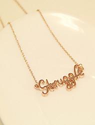 Женская Очаровательная Pattern Борьба розовое золото Короткое ожерелье