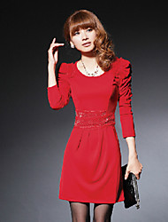 Hanyunyibo Korean Style Mid Long Knitting Dress(Red)