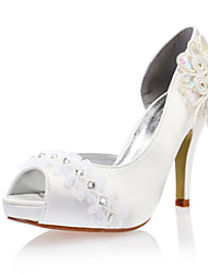 Women's Spring / Summer / Fall Heels Lace / Satin Wedding Stiletto Heel Rhinestone Ivory / White