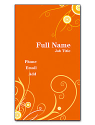 200pcs Personalized 2 Sides Printed Matte Film Vertical Orange Vine Pattern Business Card