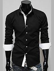 Homens gola venda quente camisa de manga longa