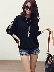 XD New Fashion Sexy Ronde Kraag met lange mouwen T-shirt (Zwart)