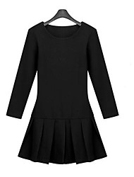 Adelgazamiento elástico Cuello redondo vestido plisado Mengyixuan (Negro)