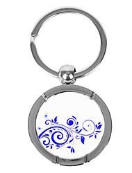 Bleu-et-blanc Style Porcelaine Keychain rond - Cirrus