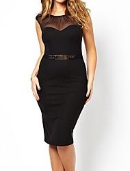 Curva con cinturón vestido de Midi de las mujeres con pliegues de malla