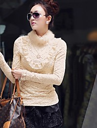 Vrouwen'S Stand Collar Lace T-shirt met Ketting