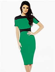 Women's Color Block Black/Blue/Green Dress , Bodycon/Work Crew Neck Short Sleeve