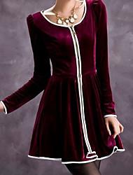 Women's Dresses , Suede Casual BZQ