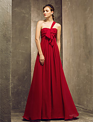 Sheath / Column One Shoulder Floor Length Chiffon Bridesmaid Dress with Draping Ruching Ruffles by LAN TING BRIDE®