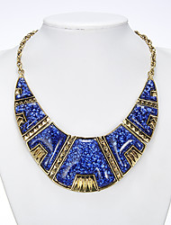 Rich Long Women's Nation Style Blue Necklace With Earring