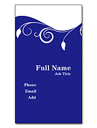 200pcs Personalized 2 Sides Printed Matte Film Vertical Blue Contracted Pattern Business Card