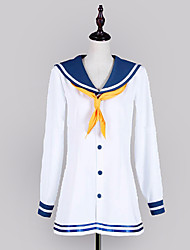 Inspired by Kantai Collection Snowy Wind Video Game Cosplay Costumes Cosplay Suits / School Uniforms Patchwork White / Blue Long Sleeve