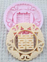 Casamento chinês molde de silicone feliz Ferramentas Fondant Moldes Sugar Craft Mould de chocolate para bolos