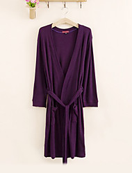Bath Robe,High-class Terry 100% Cotton Purple Solid Colour Garment