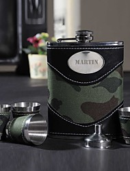Personalized Father's Day Gift Period 8oz PU Leather Capital Letters Flask with 4pcs Cup Set