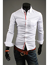Man's Long Sleeve Pure Color Cotton Shirts