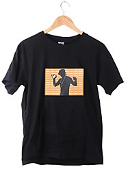 New Music Activated Luminous Short Sleeve LED Flash Light T-Shirt