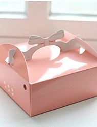 Pink Pearl Paper Cake Favor Box With Bow Handle - Set of 12
