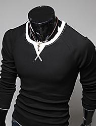 QN Herren koreanische beiläufige Splice Farbe Langarm Rundhals T-Shirt (schwarz)
