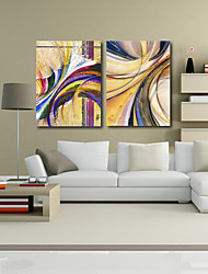 Stretched Canvas Print Art Abstract Intersection Set of 2