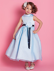 A-line Princess Ankle-length Flower Girl Dress - Organza Satin High Neck with Bow(s) Flower(s) Sash / Ribbon