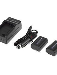 NP-FH50 1080mAh Digital Camera Battery with Charger for Sony NP-FH40 NP-FH60 NP-FP70 NP-FH30 2pcs