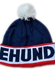 Pompom Beanie avec la rayure Knited Cap Keep Warm acrylique souple Tuque Bonnet à pompon Taille unique Bleu avec des centaines rouges