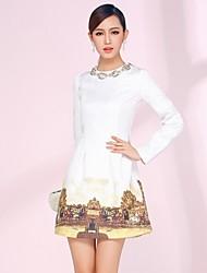 JEMEN ROSE Frauen Round Kragen Diamonade Perlen Langarm Kleid