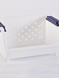 Fashion Solid Color Handle White Plastic Storage Basket - 2 Colors Avaliable