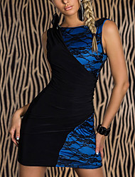 Women's Lace Blue Dress , Sexy/Party Bateau Sleeveless Lace/Ruched