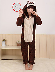 Kigurumi Pajamas Chipmunk Mouse Leotard/Onesie Festival/Holiday Animal Sleepwear Halloween Brown Patchwork Coral fleece Kigurumi For
