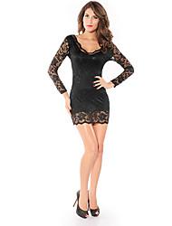 Mini vestido de encaje bodycon atractiva de las mujeres