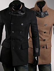 Men's Fashion Double Breasted Wool Trench Coat