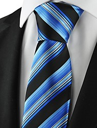 New Striped Blue  Men's Tie Suits Necktie for Party Wedding Holiday Gift