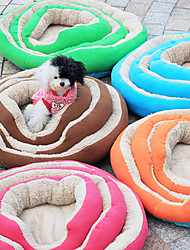 Lamb Soft Fleece Round Cushion Kennel Bed for Pets Dogs (Assorted Colors)