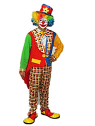 Funny Clown Colorful Polyester Men's Carnival Party Costume with Wig