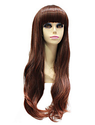 Capless Synthetic Long Straight Chestnut Brown Wig For Black Women