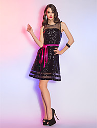 A-Line Scoop Neck Short / Mini Organza Sequined Cocktail Party Homecoming Holiday Dress with Sash / Ribbon by TS Couture®