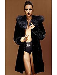 De manga larga con capucha de piel de visón y zorro cuello Fiesta / Escudo Casual