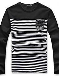 Men's Long Sleeve T-Shirt , Cotton Casual/Work Striped
