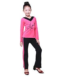 Dancewear verdicken Lycra Color Block mit V-Ausschnitt Ballroom Dance Top für Kids