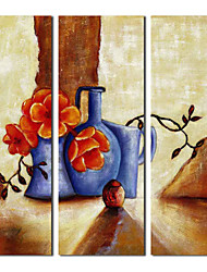 Hand-Painted Still Life Three Panels Canvas Home Decoration
