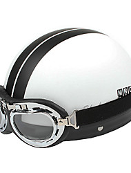 Double White Lines-3 ABS Material Motorcycle Half Helmet (With The Harley style Lens)