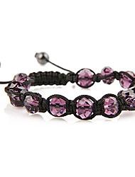 Moda Tejido a mano DIY Purple bolas pulsera ajustable (color al azar)