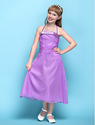 Lanting Bride® Tea-length Chiffon Junior Bridesmaid Dress A-line Halter Natural with Side Draping
