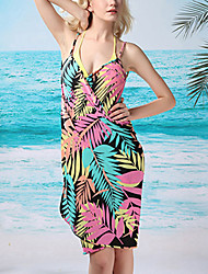Women's Straped Cover-Ups , Floral Polyester